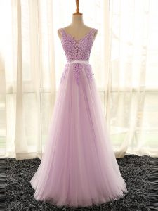 Glittering Lilac V-neck Lace Up Appliques Dama Dress Sleeveless