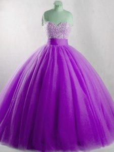 Amazing Floor Length Eggplant Purple Quince Ball Gowns Sweetheart Sleeveless Lace Up
