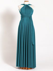 Teal Dama Dress for Quinceanera Prom and Party and Wedding Party with Ruching Straps Sleeveless Backless