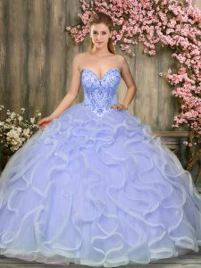 Custom Fit Beading and Ruffles Quinceanera Gown Lavender Lace Up Sleeveless Floor Length