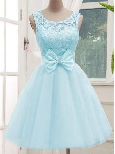 Exceptional Aqua Blue Lace Up Quinceanera Court Dresses Lace Sleeveless Knee Length