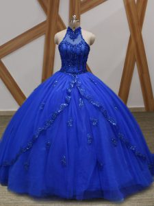 Extravagant Royal Blue Ball Gowns Tulle Halter Top Sleeveless Appliques Lace Up Quinceanera Gowns Brush Train
