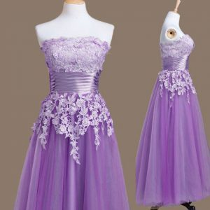 Inexpensive Lavender Dama Dress Prom and Party and Wedding Party with Appliques Strapless Sleeveless Lace Up