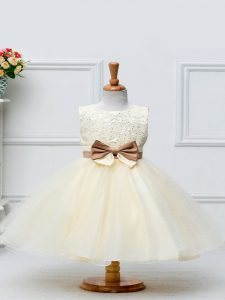 Champagne Scoop Zipper Lace and Bowknot Kids Formal Wear Sleeveless