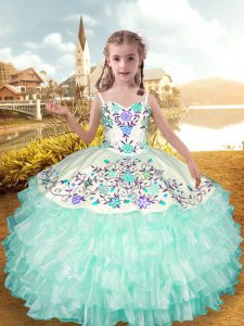 Sleeveless Lace Up Floor Length Embroidery and Ruffled Layers Pageant Dress Wholesale