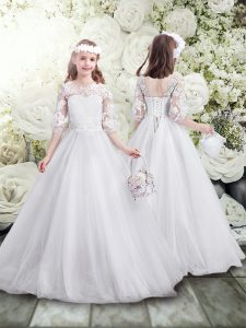 Inexpensive White A-line Scoop Half Sleeves Tulle Floor Length Lace Up Lace Flower Girl Dress