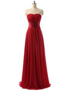 Dramatic Wine Red Empire Chiffon Sweetheart Sleeveless Ruching Floor Length Lace Up Quinceanera Dama Dress