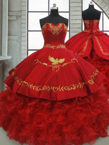 Exceptional Ball Gowns Sleeveless Wine Red Quinceanera Dress Brush Train Lace Up