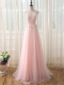 Baby Pink Empire Beading and Lace Dama Dress Zipper Tulle Cap Sleeves