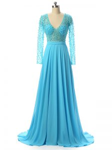 Beautiful Baby Blue Zipper V-neck Beading Mother of Groom Dress Chiffon Long Sleeves Brush Train