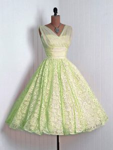 Yellow Green Sleeveless Lace Lace Up Quinceanera Court Dresses for Prom and Party and Wedding Party