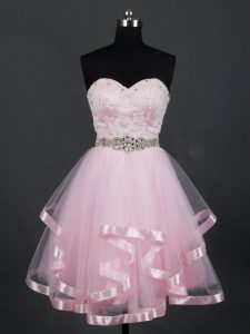 Custom Design Baby Pink Zipper Sweetheart Beading and Lace and Ruffles Dama Dress Tulle Sleeveless