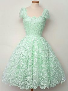 Apple Green Lace Up Quinceanera Court of Honor Dress Lace Cap Sleeves Knee Length