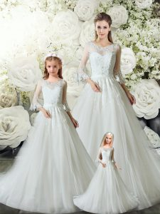 Discount Tulle V-neck Sleeveless Court Train Zipper Lace Quinceanera Dress in White