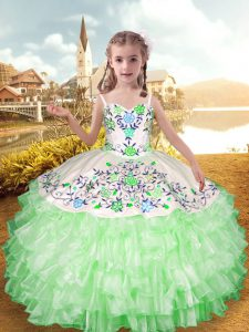 Inexpensive Organza and Taffeta Straps Sleeveless Lace Up Embroidery and Ruffled Layers Girls Pageant Dresses in Apple Green
