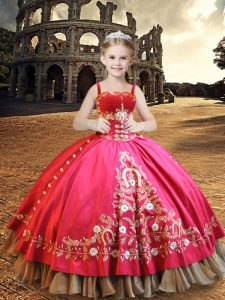 Sleeveless Taffeta Floor Length Lace Up Kids Pageant Dress in Hot Pink with Embroidery