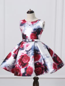 Scoop Sleeveless Kids Formal Wear Mini Length Pattern and Belt Multi-color Printed