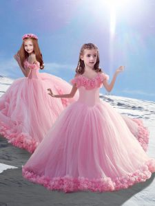 Lace Up Little Girl Pageant Dress Baby Pink for Wedding Party with Hand Made Flower Court Train