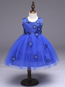 Affordable Royal Blue Sleeveless Tulle Zipper Little Girls Pageant Dress for Wedding Party