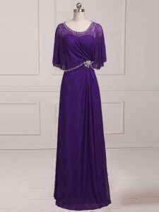 Purple Empire Beading and Appliques Mother of Bride Dresses Zipper Lace Sleeveless Floor Length
