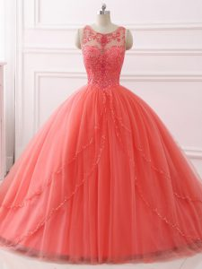 Custom Design Coral Red Sleeveless Brush Train Beading and Lace Quinceanera Gowns