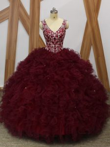 Unique Sleeveless Organza Floor Length Backless Ball Gown Prom Dress in Burgundy with Beading and Ruffles