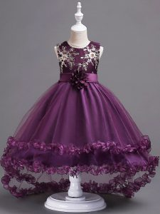 Amazing Scoop Sleeveless Tulle Girls Pageant Dresses Appliques and Hand Made Flower Zipper