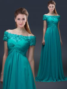 Luxury Floor Length Teal Mother of Groom Dress Chiffon Short Sleeves Appliques