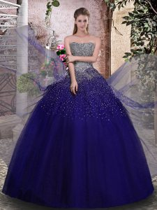 Fashionable Royal Blue Ball Gowns Strapless Sleeveless Tulle Floor Length Lace Up Beading Quinceanera Dresses