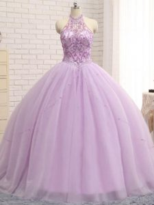 Cheap Lilac 15 Quinceanera Dress Tulle Brush Train Sleeveless Beading
