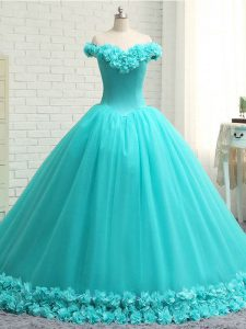 Aqua Blue Tulle Lace Up Off The Shoulder Sleeveless Quinceanera Gowns Court Train Hand Made Flower