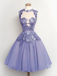 Sleeveless Knee Length Lace Lace Up Dama Dress with Lilac