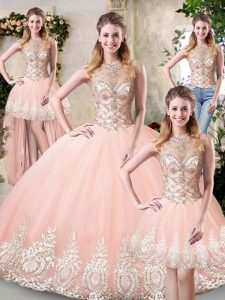 High Class Peach Three Pieces High-neck Sleeveless Tulle Floor Length Backless Beading and Lace and Appliques 15th Birthday Dress