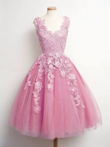 Pink A-line Lace Quinceanera Court of Honor Dress Lace Up Tulle Sleeveless Knee Length
