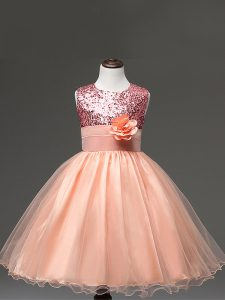 Enchanting Ball Gowns High School Pageant Dress Peach Scoop Tulle Sleeveless Knee Length Zipper
