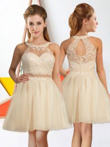 Champagne Quinceanera Dama Dress Prom and Party with Lace Halter Top Sleeveless Zipper