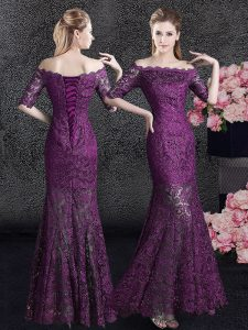 Purple Mermaid Lace Off The Shoulder Half Sleeves Lace Floor Length Lace Up Mother of the Bride Dress