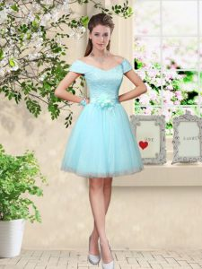 Super Tulle V-neck Cap Sleeves Lace Up Lace and Belt Dama Dress in Aqua Blue