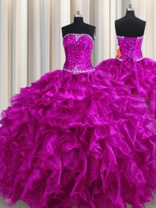 Vintage Fuchsia Ball Gowns Organza Strapless Sleeveless Beading and Ruffles Floor Length Lace Up 15 Quinceanera Dress