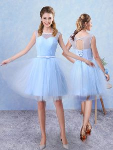 Modern Sleeveless Lace Up Knee Length Ruching and Belt Dama Dress for Quinceanera
