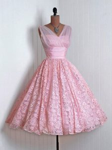 Admirable Baby Pink V-neck Lace Up Lace Quinceanera Court Dresses Sleeveless