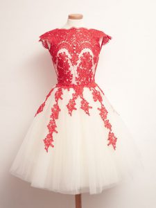 Mini Length White And Red Damas Dress Scalloped Sleeveless Lace Up