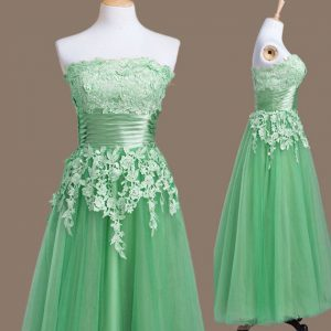 Most Popular Green Tulle Lace Up Damas Dress Sleeveless Tea Length Appliques