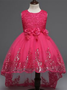 Inexpensive High Low Zipper Little Girls Pageant Dress Wholesale Hot Pink for Wedding Party with Lace and Appliques and Bowknot and Hand Made Flower