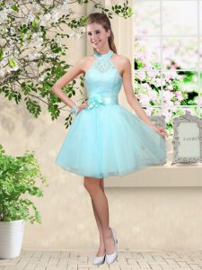Sumptuous Aqua Blue A-line Tulle Halter Top Sleeveless Lace and Belt Knee Length Lace Up Court Dresses for Sweet 16