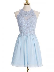 Perfect Light Blue Lace Up Halter Top Appliques Court Dresses for Sweet 16 Chiffon Sleeveless