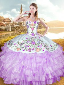 Elegant Lilac Sleeveless Embroidery and Ruffled Layers Floor Length 15 Quinceanera Dress