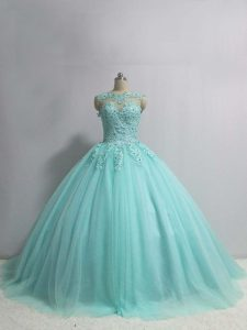 Extravagant Aqua Blue Sleeveless Tulle Lace Up 15th Birthday Dress for Military Ball and Sweet 16 and Quinceanera