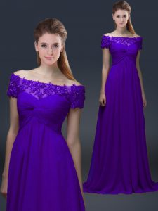 Exquisite Purple Mother of Groom Dress Prom and Party with Appliques Off The Shoulder Short Sleeves Lace Up