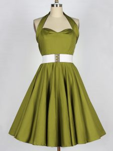 Olive Green Halter Top Lace Up Belt Quinceanera Court Dresses Sleeveless